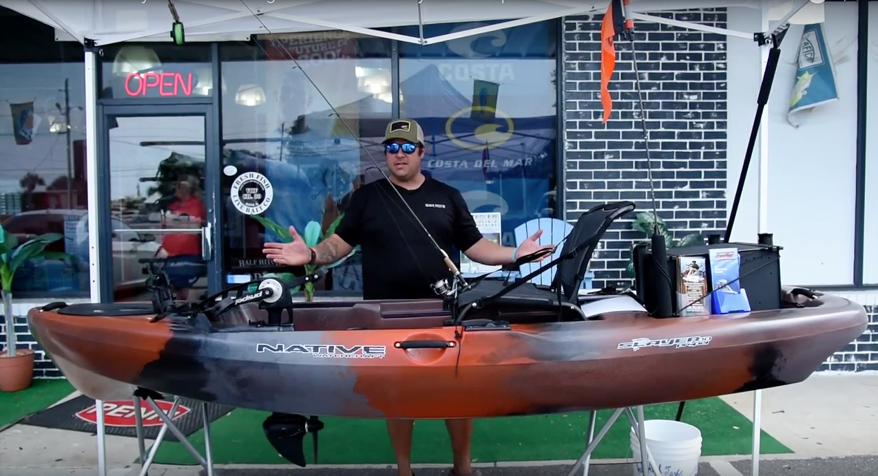 kayak fishing setup in the spread video