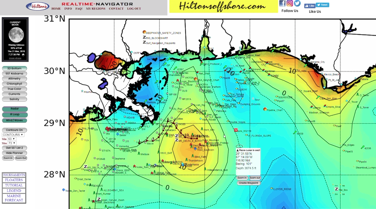 altimetry charts fishing forecast hiltons realtime navigator in the spread