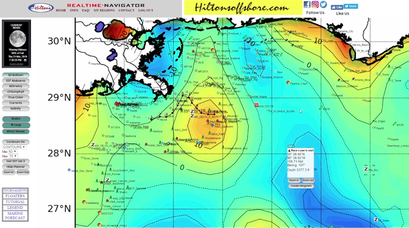 offshore fishing forecast in the spread hilton's realtime navigator