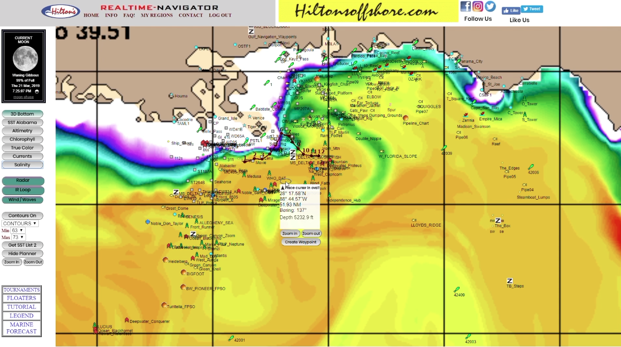 salinity charts fishing forecast in the spread hiltons realtime navigator